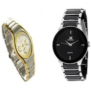 IIK Black-Silver Men And Rosra Gold - Silver Women Couple Watches for Men and Women