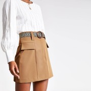 River Island Womens Beige belted mini skirt (16)