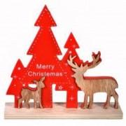 Decoratiune ornament lemn brad rosu ren crem craciun