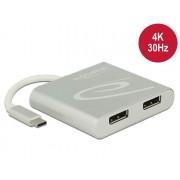 DeLock USB Type-C Splitter (DP Alt Mode) > 2x Displayport out 4K 30Hz 87714