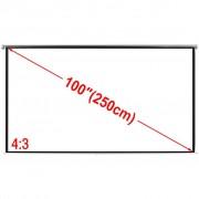 vidaXL Tela projeção manual 200 x 153cm branco fosco 4:3 para parede/teto