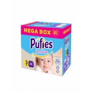 Scutece Pufies Sensitive Mega box, 3 midi, 162 buc