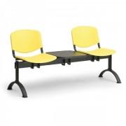 Kovo Praktik Plastové lavice ISO II, 2-sedák + stolek, černé nohy oranžová