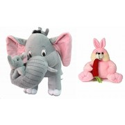 Deals India Mother Elephant With 2 Babies Soft Toy - 38 cm and Bunny with carrot(30 cm) combo
