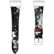 Eternico Fitbit Charge 3 / 4 Genuine Leather, szürke-virágos (Large)