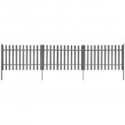 vidaXL Gard șipci, 3 buc, WPC, 6 m lungime, 120 cm înălțime, gri