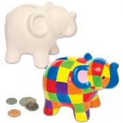 Baker Ross Elephant Coin Banks - 2 Ceramic money boxes to paint and decorate. With removable plastic stopper. Size 13cm x 10cm x 8cm.