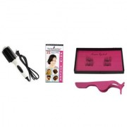 Style Maniac NHC-8810 2 IN 1 Hair Brush Straightener/Curler 3 Second Magnetic Eyelash (Pair Of 2) With Hair Style Book.