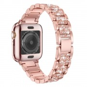 Aluminum Alloy Watch Strap Replacement Rhinestone Decor for Apple Watch Series 5/4 44mm / Series 3/2/1 42mm - Rose Gold