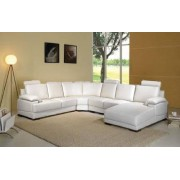 items-france KENWOOD BLANC - Canape cuir 6 places blanc 260x320x168