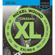 DAddario Exl165 5-String Nickel Wound Bass Guitar Strings Custom Light 45-135 Long Scale