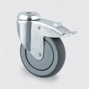 TENTE Přístrojové kolo šedé 75 mm, otočné s brzdou s krytem, středová díra