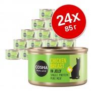 Икономична опаковка Cosma Original в желе 24 x 85 г - микс: тихоокеанска риба тон, ивчест тунец, сьомга, пиле