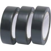 Set bandă izolatoare autoadezivă, (L x l) 10 m x 15 mm, negru, 3 role, Tru Components