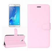For Samsung Galaxy J7 (2017) / J7 Pro Litchi Texture Horizontal Flip Leather Case with Holder & Card Slots & Wallet (Pink)