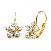 Ebony Swarovski kristályos fülbevaló - Arany színű bevonat, Áttetsző kristályok