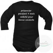 SiMEDIO Body bébé message : PRISONNIER pendant 9 mois - Noir Longues 4-6 mois