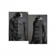 Delgado Top Coat Capucha Diseñado Chaqueta 2 Tamaño Del Color 4-Gris Oscuro