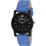 Evelyn Round Dial Blue Leather Strap Quartz Watch For Men EVE-552
