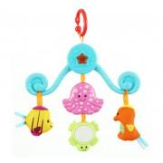 Jucarie de agatat pentru carucior Carusel muzical - Animale Marine Winfun, cu oglinda si jucarii din plus