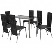 vidaXL Set masă și scaune de bucătărie 7 piese, Negru