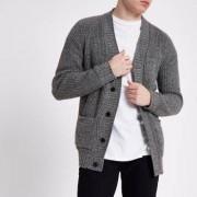 River Island Mens Grey textured knit slim fit cardigan