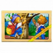 Puzzle lemn Familie ursuleti - 4 planse 12 piese cutie cu inchidere magnet