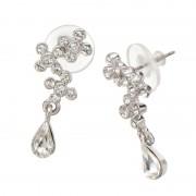 JN クリスタルガラス クリアフラワー イヤリング/ピアス【QVC】40代・50代レディースファッション
