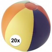 Merkloos 20x Opblaas strandbal met kleurtjes