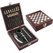 Wooden Chess Board Game Wine Gift Set with Wine Opener Drip Collar Bottle Stopper Wine Thermometer and 32 miniature chess pieces Best Gift for Christmas wine lover wedding friends .