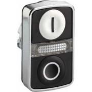Cap buton dublu luminos alb încastrat/negru încastrat - Butoane si lampi din metal Ø22 - Harmony xb4 - ZB4BW7A1721 - Schneider Electric