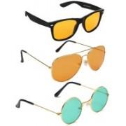 Elligator Aviator, Round, Wayfarer Sunglasses(Yellow, Orange, Green)