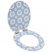 vidaXL Тоалетна седалка с плавно затваряне, МДФ капак, дизайн порцелан