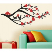 Wall Dreams Love Birds On A Branch With Heart Shaped Flowers In Red Valentine Wall Stickers (60cmX45cm)
