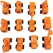 Blossom Construction Truck Die Cast Toy Playset with Pull Back Function (Set of 12 Small Size Trucks) for Kids, Orange