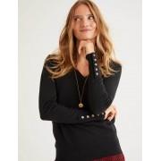 Boden Schwarz Eldon Baumwollpullover mit V-Ausschnitt Damen Boden, XL, Black
