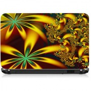 VI Collections Greenish Yellow Flower Printed Vinyl Laptop Decal 15.5