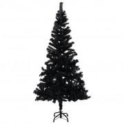 vidaXL Изкуствена коледна елха със стойка, черна, 150 см, PVC