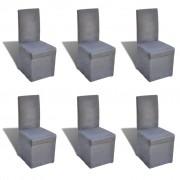 vidaXL Set od 6 blagovaonskih stolica s tkaninom u tamnoj sivoj boji