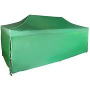Rýchlorozkladací nožnicový stan 3x6m – oceľový, Zelená, 4 bočné plachty