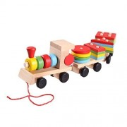 Emotionlin Wooden Small Stacking Train Blocks Geometrical Shape Blocks Pull Along Train Stacker For 1 4 Year Baby Kids Toddler Child