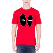 Andshand Mens Cotton Half Sleeve Deadpool Eyes Printed T-Shirt (DEADPOOLEYES_RED Red L)