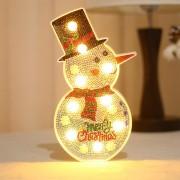 Christmas Lights DIY Creative Diamond Painting Christmas Tree Snowman LED Night Light - Snowman