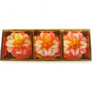 6th Dimensions Floting Sparkling Flower Shaped Wax Candle (Pack Of 3)- Multicolored
