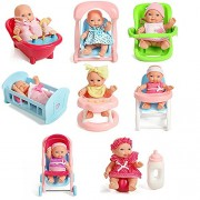 (Angel Impex) 8 Extremely Cute Baby Dolls With 8 Baby Living Styles Like Baby Chair, Bath Tub + Other Styles With High And Best Quality Accessories For Baby Kids