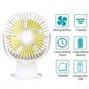 USB Table Fan Clip on & Desk Personal Fan, LED Lamp Function, 360 Degree Rotation, 3 Speeds Adjustable, Rechargeable Battery Electric Fan for Car, Stroller, Office, Bedroom, Traveling, Fishing - White