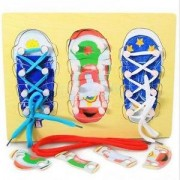 Alcoa Prime Learn To Tie Shoes Lacing Early Educational Learning Wooden Toys For Kids