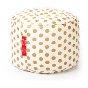 Style Homez Round Cotton Canvas Polka Dots Printed Bean Bag Ottoman Stool Large with Beans Gold Color