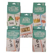 The Clever Factory 1st Grade Flash Cards Set 5 Bundle (Includes Addition, Subtraction, Money and more…)