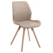 CLP Silla de visita Perth: tapizado de polipiel, soporte de madera natural, patas redondas, gris claro gris claro, altura del asiento